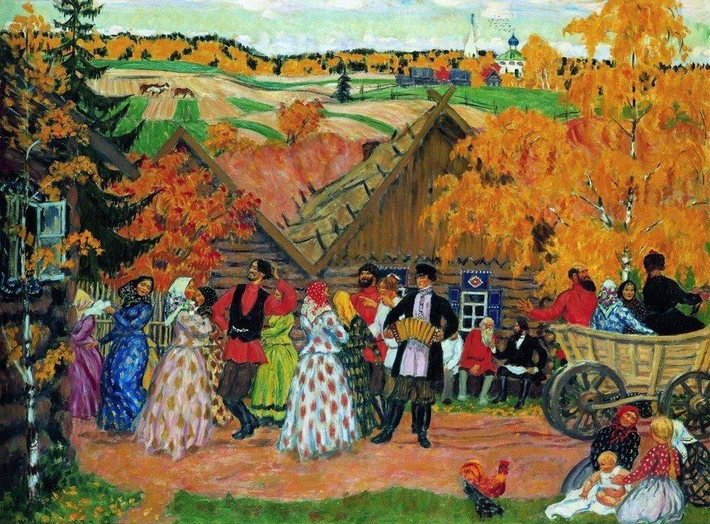 кустодиев осенний сельский праздник стихи к картине получился