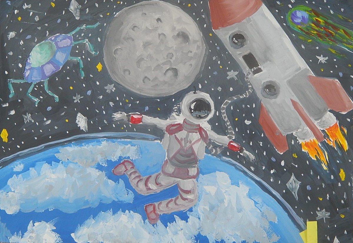Картинки на день космонавтики мультяшные