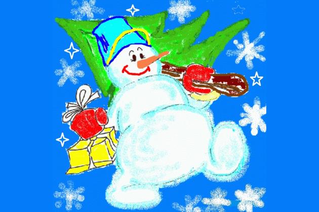 Нарисовать открытку на новый год