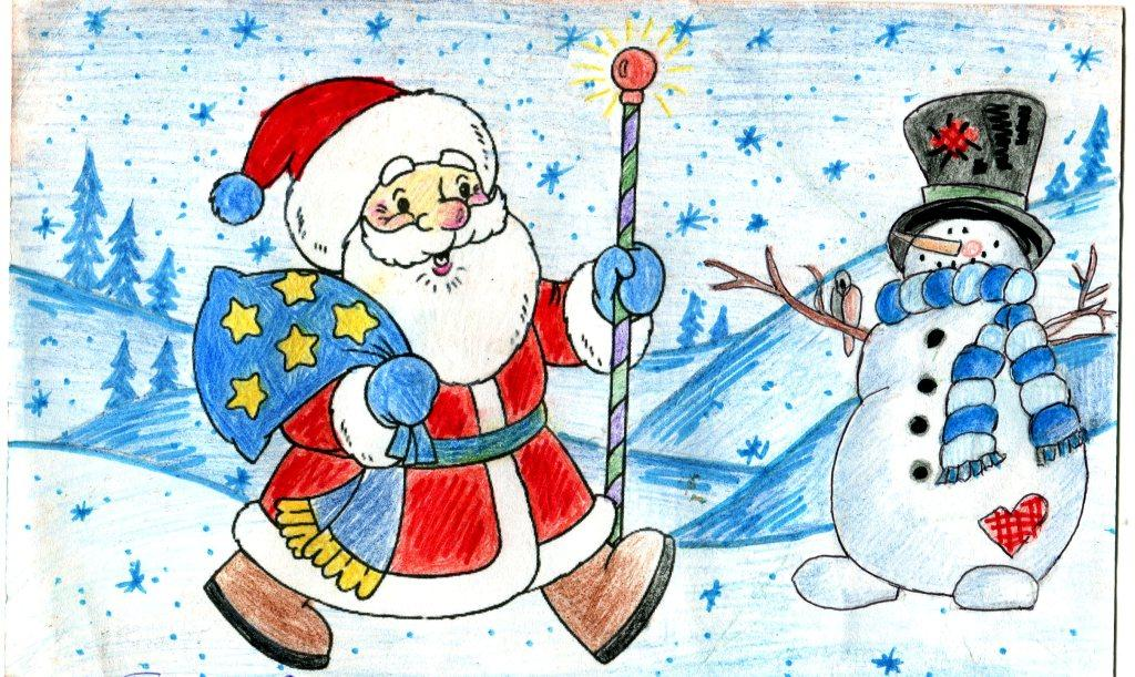 Детские картинки к новому году нарисовать